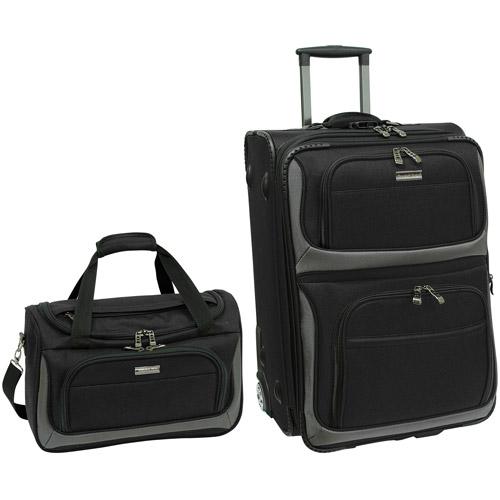 Traveler's Choice Lightweight 2-Piece Carry-On Luggage Set, Black