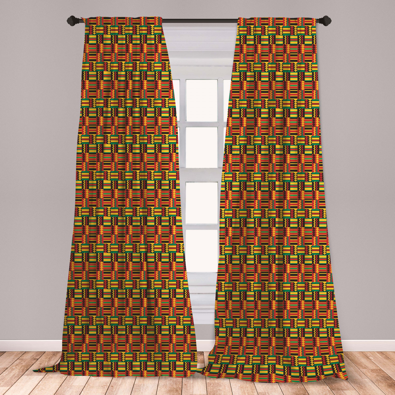 Kente Pattern Curtains 2 Panels Set, Pattern With Stripes