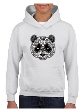 Panda Skull Unisex Hoodie For Girls and Boys Youth Sweatshirt