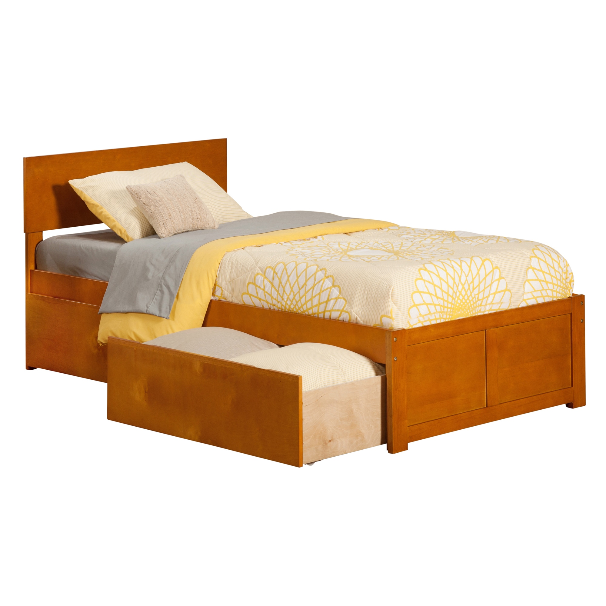 Atlantic Furniture Atlantic Orlando Caramel Latte Twin-size Flat-panel Foot Board with 2 Urban Bed Drawers