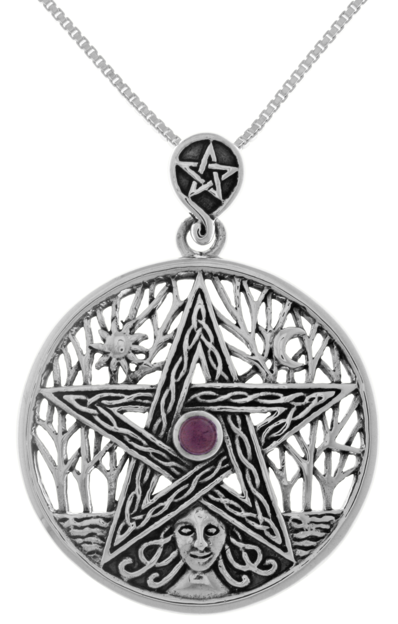 Jewelry Trends Sterling Silver Celtic Goddess Mother Earth Pentacle Pendant with Amethyst on 18 Inch Box Chain Necklace by Jewelry Trends
