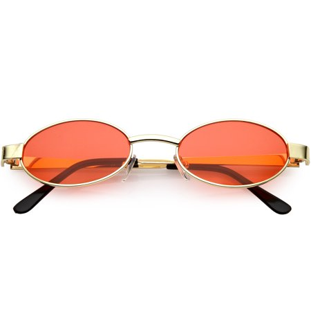 Retro Small Oval Sunglasses Metal Arms Color Tinted Lens 48mm (Gold / Red)