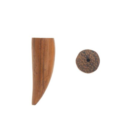 28mm Bead (Smooth Wood Pendant Beads, 28mm Horn, 2 Pieces, Natural Brown )