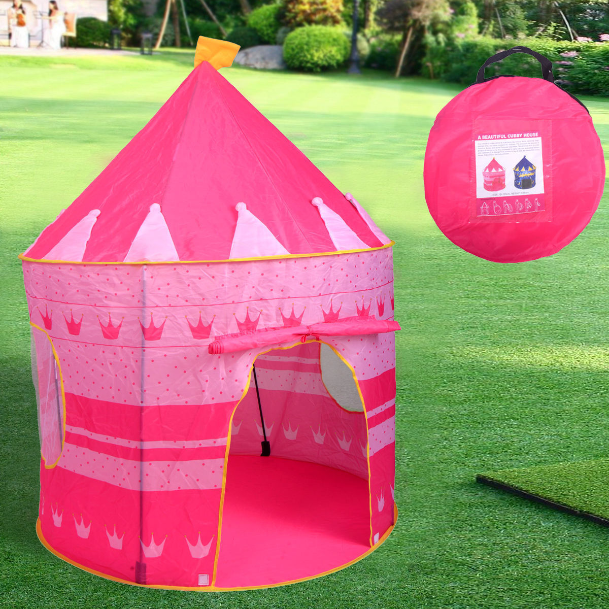 Portable Pink Folding Play Tent Kids Girl Princess Castle Fairy Cubby House New & Portable Pink Folding Play Tent Kids Girl Princess Castle Fairy ...
