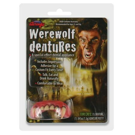 Fun World Werewolf Dentures False Teeth, One-Size 2in, White Pink](Werewolf Teeth For Sale)