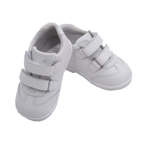 Baby Boys White Double Strap Leather