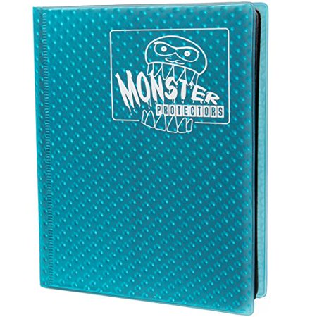 Monster Binder - 4 Pocket Trading Card Album - Holofoil Aqua Blue- Holds 160 Yugioh, Magic, and Pokemon (Holofoil Rare Single Card)