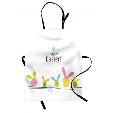 Easter Apron Simplistic Cartoon Eggs with Bunny Ears Standing on a Rope Pastel Colored Design, Unisex Kitchen Bib Apron with Adjustable Neck for Cooking Baking Gardening, Multicolor, by Ambesonne - Standing Egg