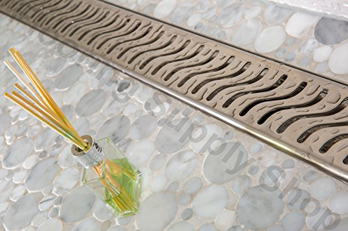 """Royal Linear Shower Drain Wind 16/"""" to 59/"""" Stainless Steel by Serene Steam"""