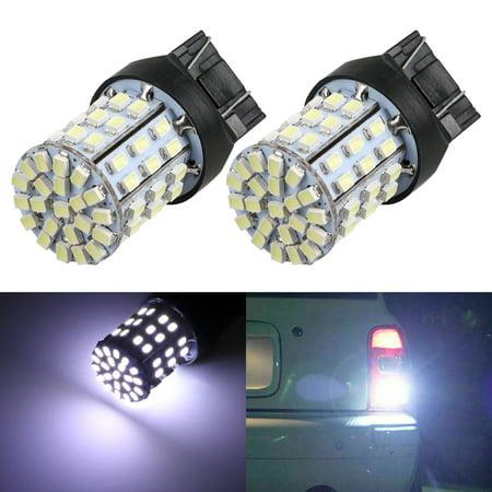 EEEkit T20 7443 White LED Bulbs Xtreme Super Bright LED Bulb 64-SMD 6000K Xenon LED 7443 Bulb for Turn Signal Back-Up Reverse DRL Brake Stop Tail Lights (2pcs) (Led Stop Tail Bulb)