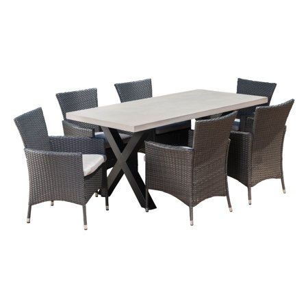 Sanscar Outdoor 7 Piece Dining Set with Light-Weight Concrete Rectangular  Table and Wicker Dining - Sanscar Outdoor 7 Piece Dining Set With Light-Weight Concrete