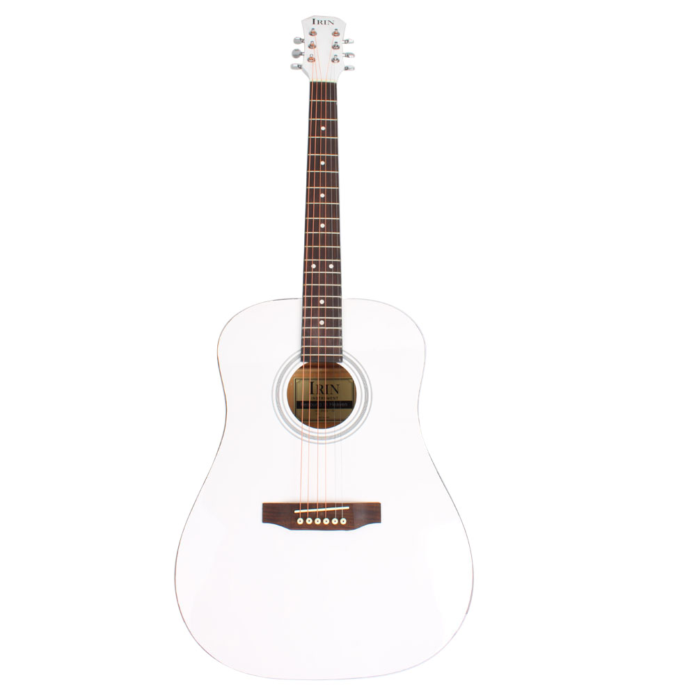 Zimtown Nanyang Wood Acoustic Guitar 41 Full Size Adult White Red