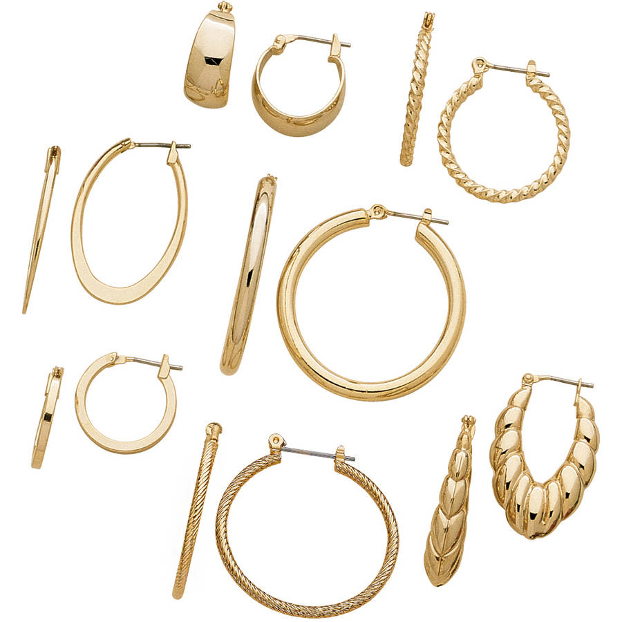 Gold-Tone Hoop Earrings, 7 Pairs