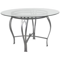 48RD Glass Table/Silver Frame