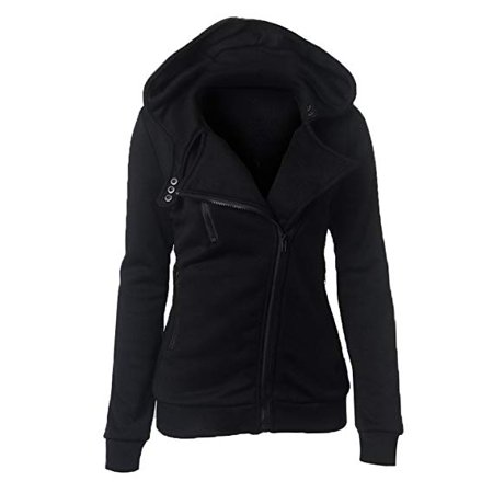 Plus Size Snow White (Womens Long Sleeve Casual Slim Fit Oblique Zip up Hoodie Jacket Coat Plus)