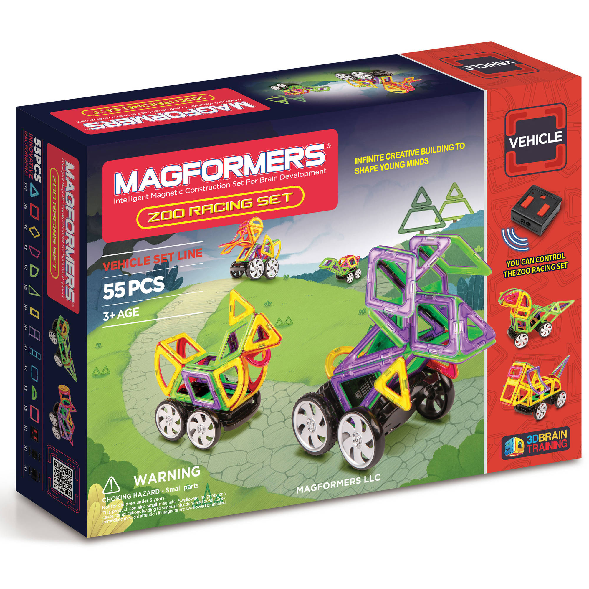 MagFORMERS Zoo Racing Set 55-Piece Magnetic Construction Set by Magformers