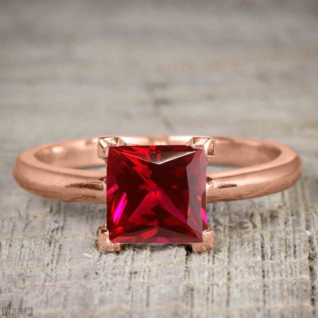 1 Carat Princess cut Ruby Solitaire Engagement Ring in Rose Gold
