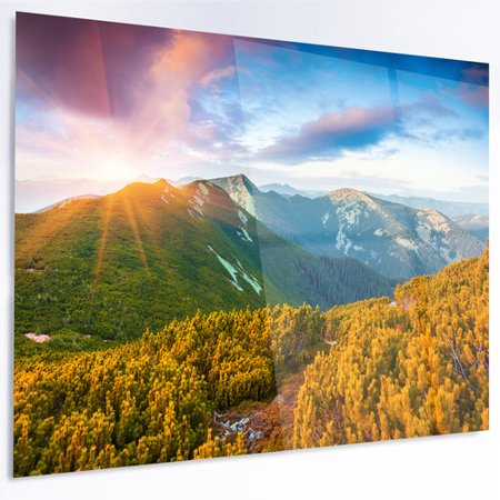 Design Art Bright Sunrise In Carpathian Mountains Photographic Print On Metal