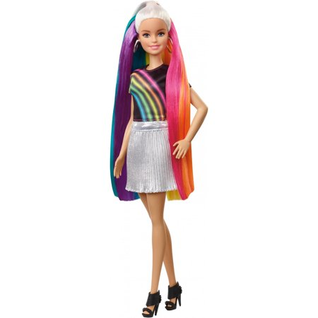 Barbie Rainbow Sparkle Hair Doll, Blonde, with Accessories