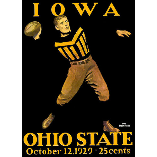 NCAA - 1929 Ohio State Buckeyes vs. Iowa Hawkeyes 22x30 Canvas Historic Football Poster