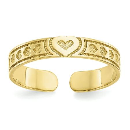 Women's 10K Yellow Gold Heart Toe Ring MSRP $94