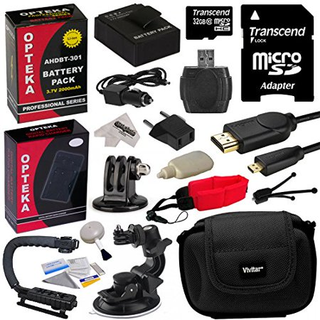 GoPro Action Sports Kit with 32GB MicroSDHC Memory Card, x2 AHDBT-301, Charger, HDMI Cable, Tripod Adapter, Action Stabilizing Grip, Car Mount, Case, Floating Strap, Cleaning Kit with Bonus Tripod
