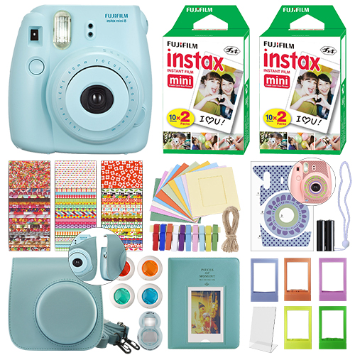 Fuji Instax Mini 8 Fujifilm Instant Film Camera Blue + 40 Film Deluxe Bundle