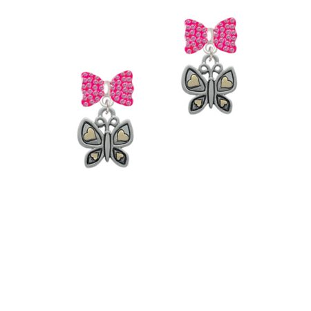 Butterfly With Gold Tone Hearts Hot Pink Bella Bow Crystal Earrings