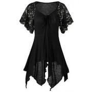 Women Lace Sleeve Top Irregular Hem Solid Blouse Plus Size