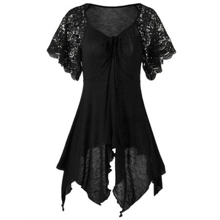 Rope Lace (Women Lace Sleeve Top Irregular Hem Solid Blouse Plus Size)