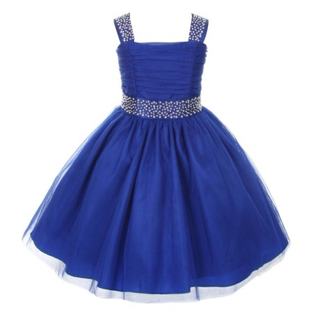 Cinderella Couture Little Girls Royal Blue Rhinestone Sleeveless Dress - Cinderella Dress Girl