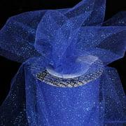 "Designer Sapphire Blue Glitter Tulle Craft Ribbon 6"" x 110 Yards"