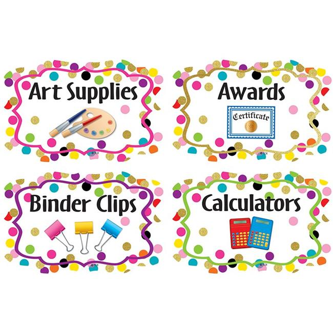 Teacher Created Resources TCR8751 5 x 3 in. Confetti Supply Labels - image 1 de 1