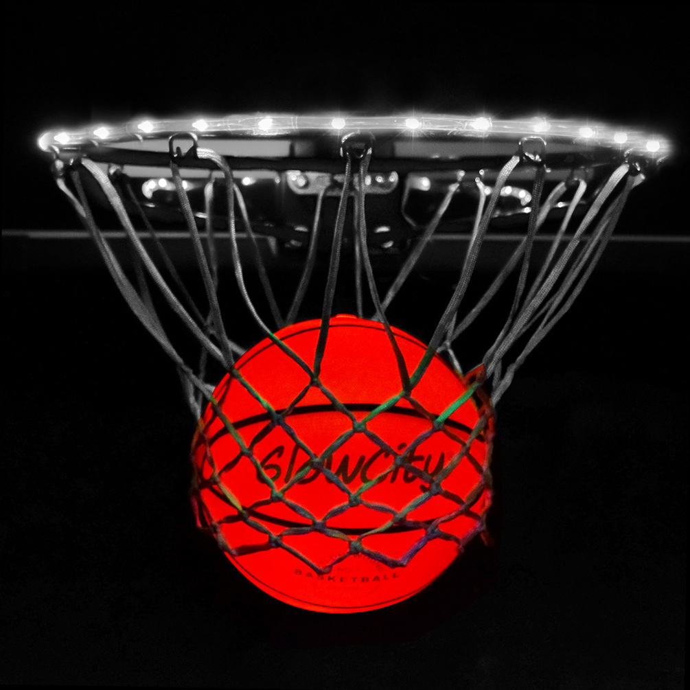 GlowCity Ultra Bright LED Basketball With Glow In The Dark LED Rim Kit - Aqua Teal, Size 7 Basketball (Official Size) - (Basketball Hoop Not Included)