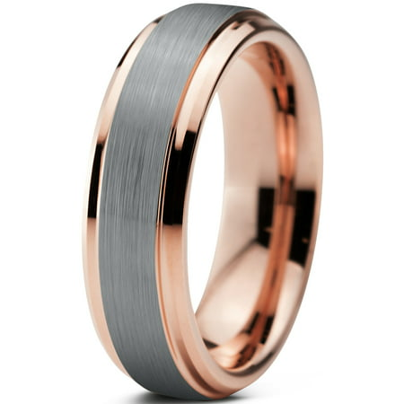 Charming Jewelers Tungsten Wedding Band Ring 6mm for Men Women Comfort Fit 18K Rose Gold Plated Plated Beveled Edge Brushed Polished Lifetime