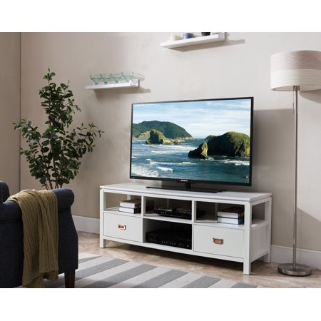 Adelaide 54 White Wood Contemporary Entertainment Center
