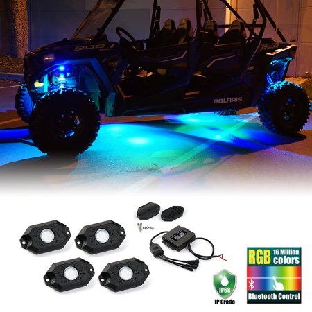 Xprite Set Of 8 3Rd Gen Multicolor Rgb Led Rock Light Kit With Bluetooth For Offroad 4X4 Jeep Pickup Truck Suv