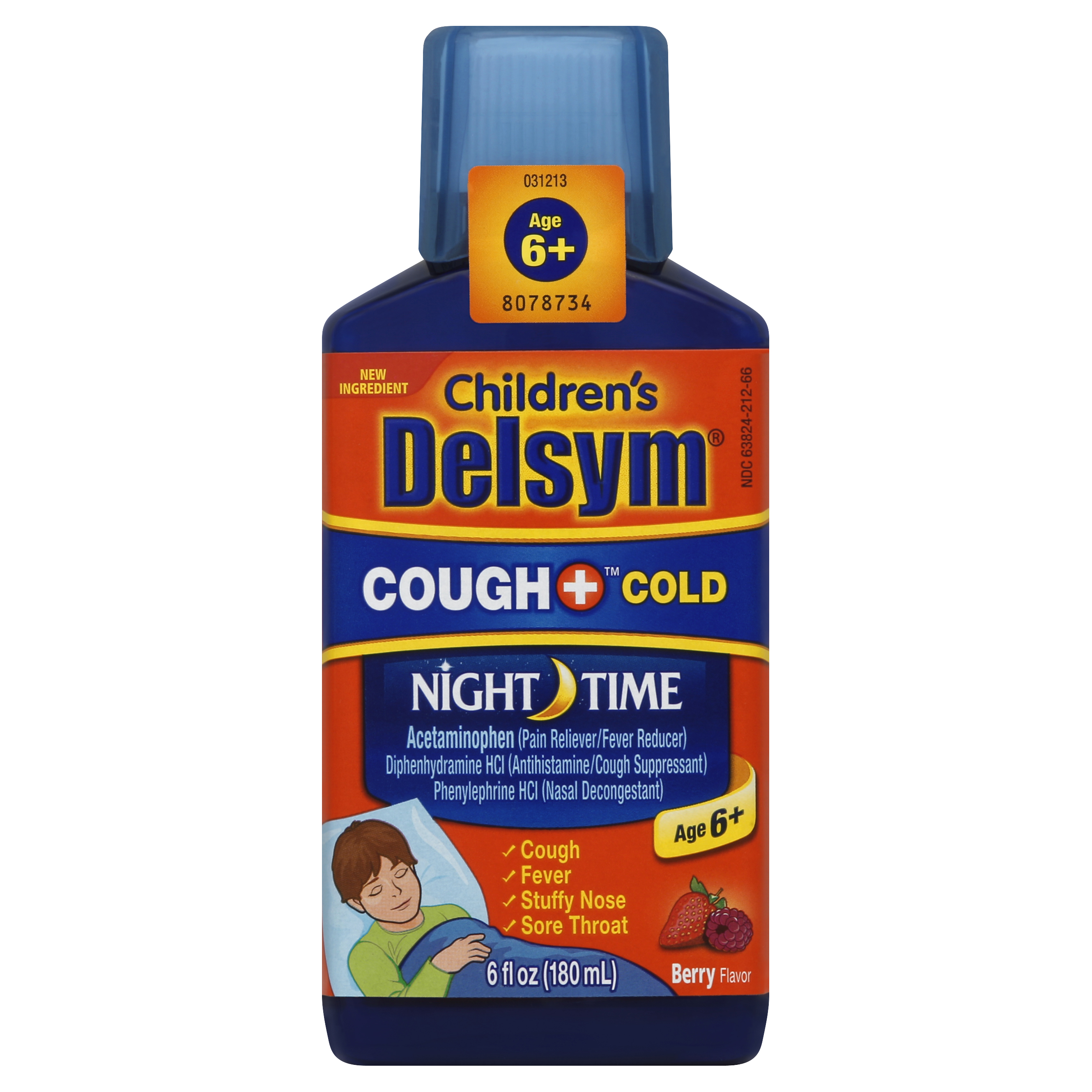 Delsym Children's Night Time Cough and Cold Liquid, Mixed Berry Flavor, 6 Ounce