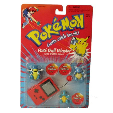 pokemon poke ball blaster with battle discs: #07 - squirtle, #08 - wartortle & #09 - blastoise