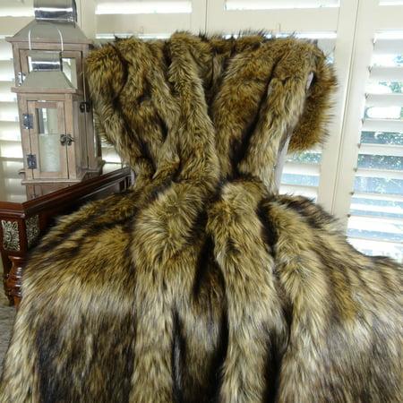 Thomas Collection Light & Dark Brown Wolf Faux Fur Throw Blanket - 16406 ()