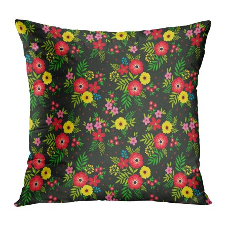 ECCOT Green Elegant Pattern in Small Flowers are Scattered Liberty Floral Ditsy Bouquet of Spring for Red Bloom PillowCase Pillow Cover 20x20 inch