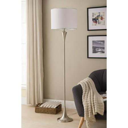 Riya Floor Lamp, Brushed Nickel Metal Body & White Fabric Drum Shade (Brushed Nickel Floor Lamp)