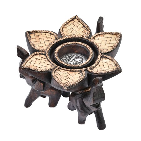 Triple Elephant Lotus Blossom Carved Rain Tree Wooden Candle Holder](Elephant Candles)
