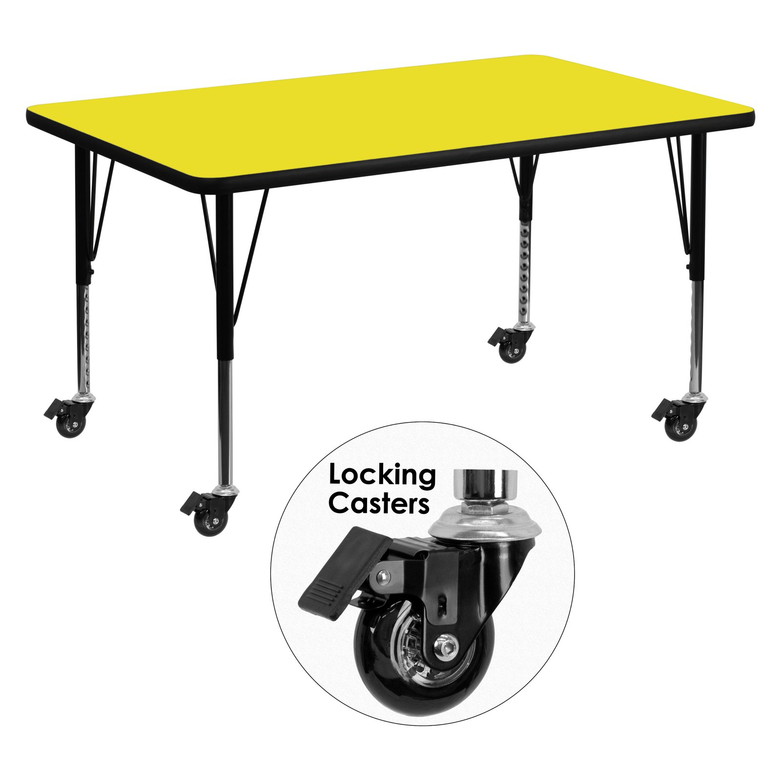 Flash Furniture Mobile 30''W x 48''L Rectangular Activity Table with 1.25'' Thick High Pressure Yellow Laminate Top and Height Adjustable Preschool Legs