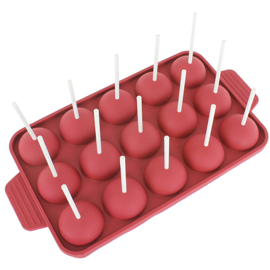 Freshware 15-Cavity Cake Pop Silicone Mold for Party Cupcake, Lollipop and Hard Candy, CB-121RD