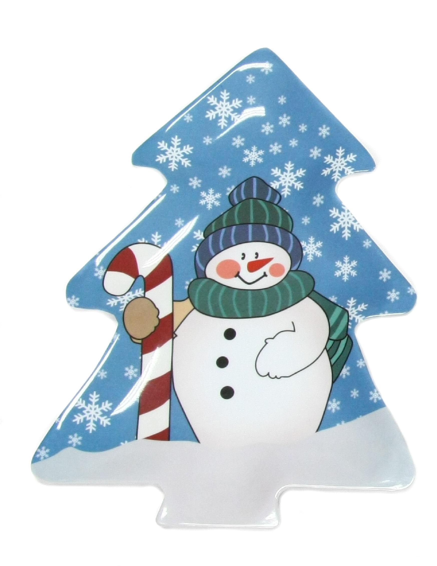 Modern Christmas Tree Shaped Snowman 12 5 Serving Platter Blue White Walmart Com Walmart Com