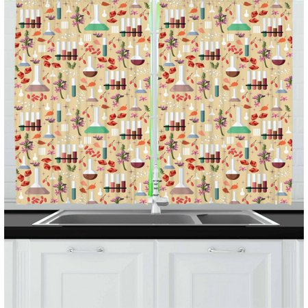 Apothecary Curtains 2 Panels Set, Colorful Leaves Roots and Flowers Flasks Medieval Alchemy Themed Medicine Making, Window Drapes for Living Room Bedroom, 55W X 39L Inches, Multicolor, by Ambesonne](Medieval Times Theme)