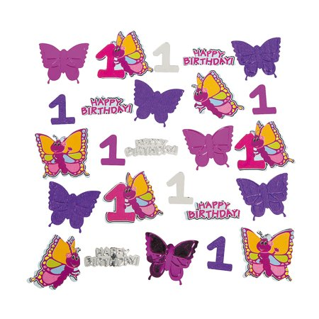 Fun Express - 1st Butterfly Confetti for Birthday - Party Decor - General Decor - Confetti - Birthday - 1 Piece](Butterfly Party Decor)