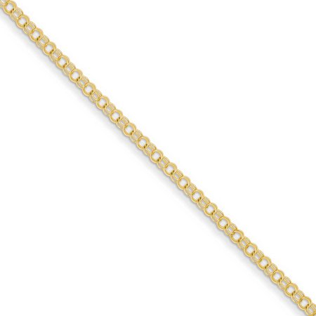 14k Yellow Gold 3mm Solid Double Link Charm Bracelet 14k Solid Gold Charm Bracelet