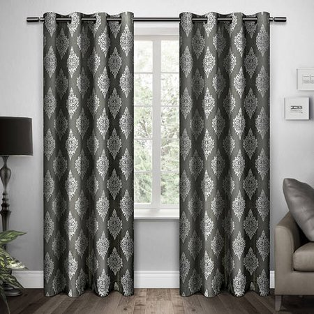 Exclusive Home Damask Black Pearl Grommet Top 54 X 96 Inch Curtain Panel Pair